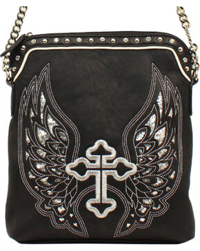 Blazin Roxx Silver Cross/Wings Messenger Bag, Black, hi-res