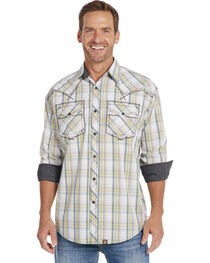 Cowboy Up Long Sleeve Plaid Snap Shirt, White, hi-res