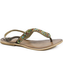 Roper Women's Color Crystal Leather Thong Sandals , , hi-res