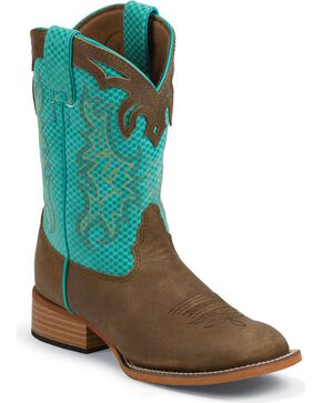 Justin Bent Rail Kids' Turquoise Diamond & Brown Cowboy Boots - Square Toe, Tan, hi-res