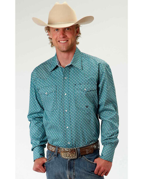 Roper Men's Geometric Printed Western Shirt, Turquoise, hi-res