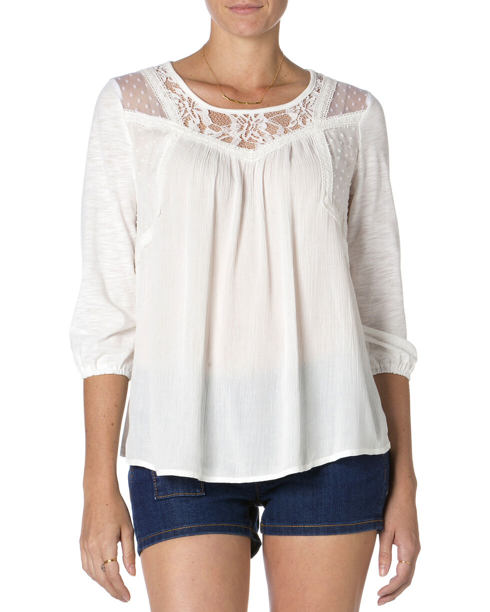 MIss Me Women's Mix-Match Lace Top, Off White, hi-res