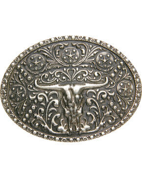 Cody James® Men's Antiqued Cow Skull Belt Buckle, Silver, hi-res