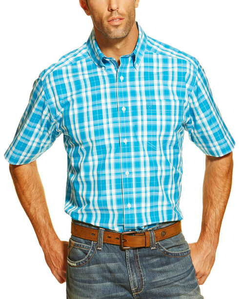 Ariat Men's Fin Plaid Short Sleeve Western Shirt, Multi, hi-res