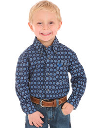 Wrangler Boys' Indigo Classic Print Button Down Shirt , , hi-res