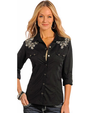 Panhandle Slim Women's Black Studded Vintage Western Shirt, Black, hi-res