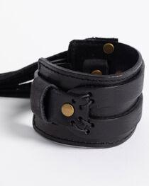 Jewelry Junkie Black Distressed Western Cuff with Fringe, , hi-res