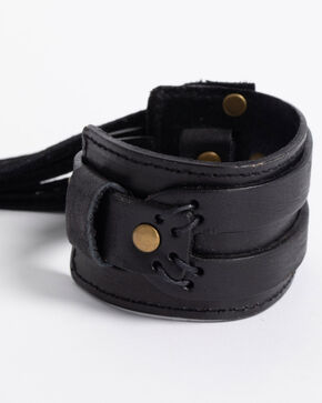 Jewelry Junkie Black Distressed Western Cuff with Fringe, Black, hi-res