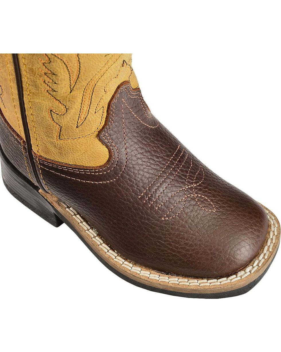 Old West Toddler Boys' Yellow Cowboy Boots - Square Toe, Oiled Rust, hi-res