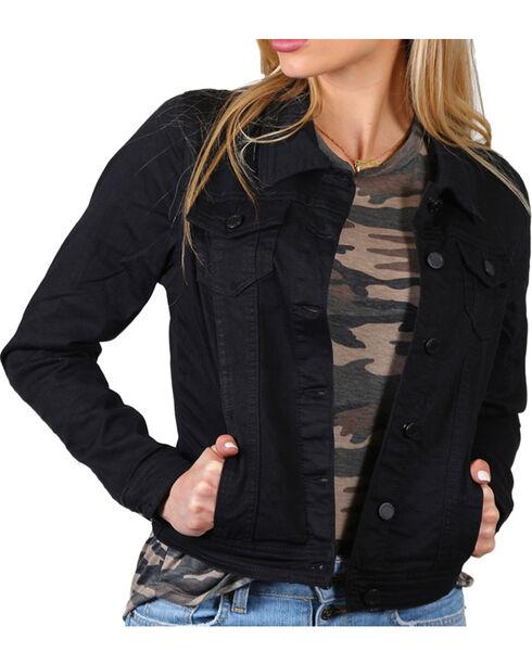 Boom Boom Jeans Women's Classic Black Denim Jacket, , hi-res