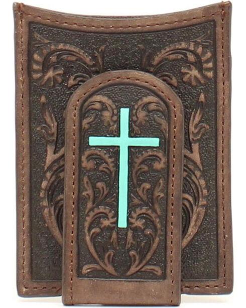 Ariat Turquoise Cross Money Clip Wallet, Brown, hi-res