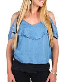 Shyanne® Women's Denim Off The Shoulder Top , , hi-res