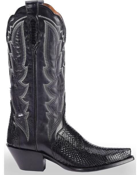 Dan Post Women's Black Water Snake Triad Cowgirl Boots - Snip Toe , Black, hi-res