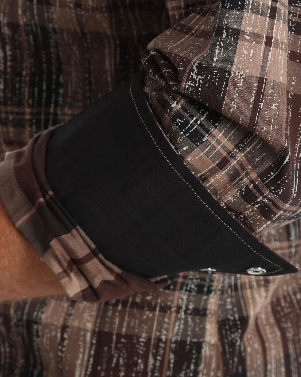 Wrangler Rock 47 Men's Black Embroidered Plaid Shirt , Black, hi-res