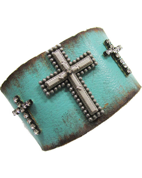 Cowgirl Confetti by AndWest Turquoise Three Crosses Leather Cuff, Blue, hi-res