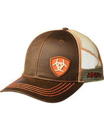 Ariat Men's Brown Oilskin Shield Logo Baseball Cap , , hi-res