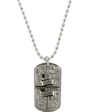 Moonshine Spirit Men's Faith Forever Dog Tag Necklace, Silver, hi-res