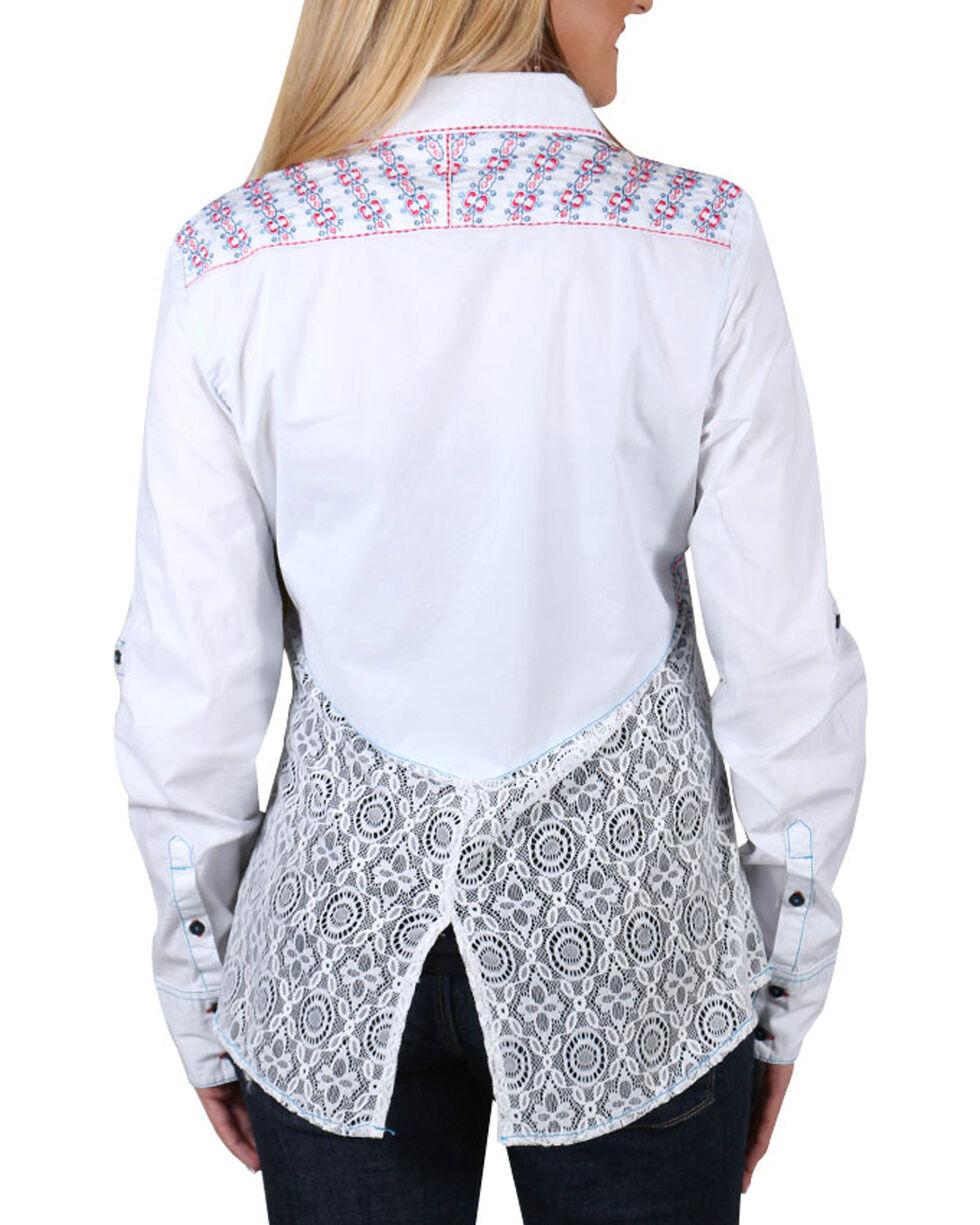 Grace In LA Women's Crochet Western Shirt , Pink, hi-res