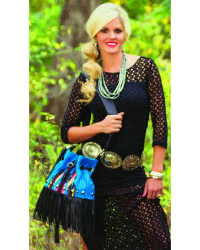STS Ranchwear Women's Lolita Serape Fringe Crossbody Bag, Multi, hi-res