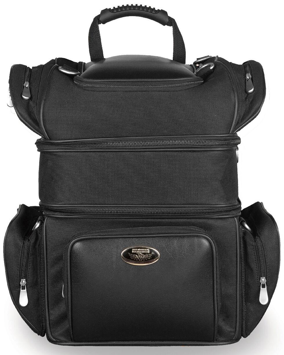 Milwaukee Leather Triple Barrel Sissy Bar Rack Bag, Black, hi-res