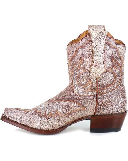 Shyanne® Women's Crackled Embroidered Booties, Tan, hi-res