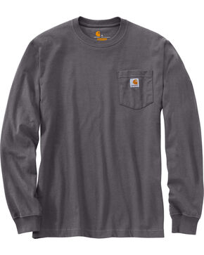 Carhartt Long Sleeve Pocket Work Shirt - Tall, Medium Grey, hi-res