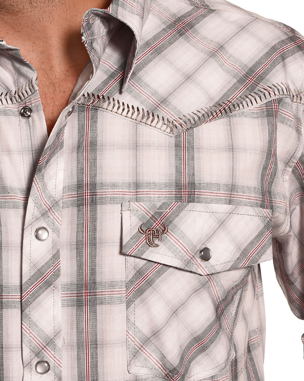 Cowboy Hardware Men's White Western Plaid Shirt , White, hi-res