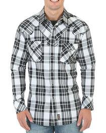 Wrangler Retro Men's Black and White Plaid Western Shirt - Tall, , hi-res