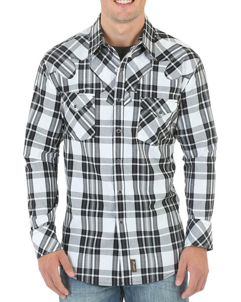 Wrangler Retro Men's Black and White Plaid Western Shirt - Tall, White, hi-res
