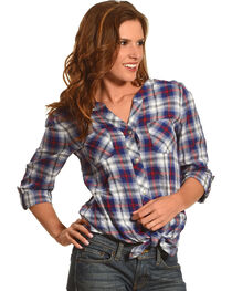 Ruby Rd. Women's Boyfriend Tie Front Plaid Shirt, , hi-res