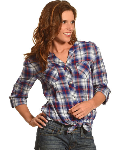 Ruby Rd. Women's Boyfriend Tie Front Plaid Shirt, Navy, hi-res