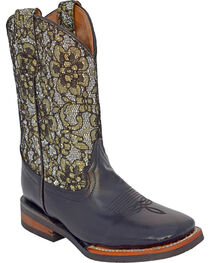 Ferrini Girls' Cowhide Silver Western Boots - Square Toe, , hi-res