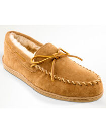 Minnetonka Men's Sheepskin Hardsole Moccasins - Extended Sizes, , hi-res