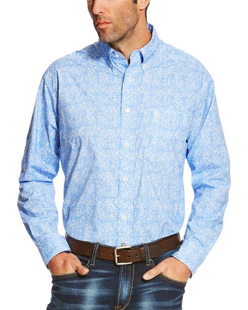 Ariat Men's Light Patterned Button Down Long Sleeve Shirt , Blue, hi-res