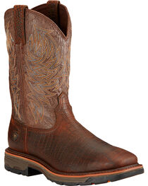 Ariat Workhog Croc Print Wide Square Toe Work Boots, , hi-res