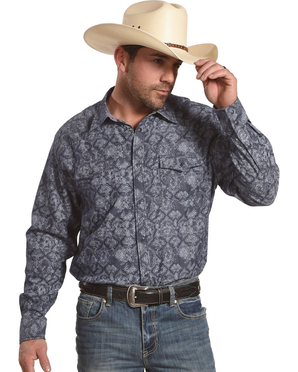 Moonshine Spirit Men's Gypsy Navy Printed Long Sleeve Shirt, Navy, hi-res