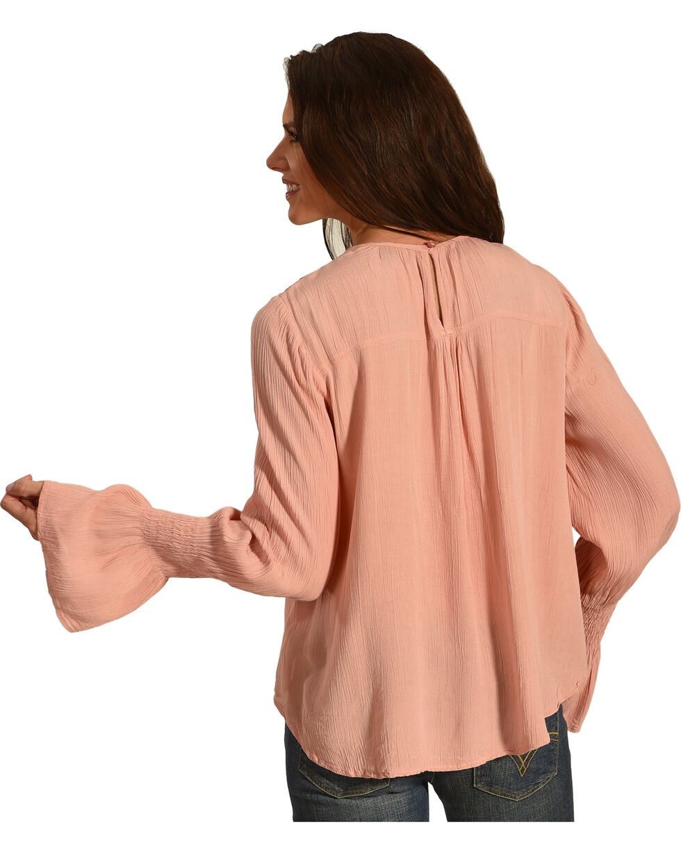 Derek Heart Women's Embroidered Long Sleeve Top, Pink, hi-res