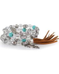 Shyanne® Women's Beaded Feather Charm Bracelet, , hi-res