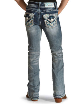 Grace in LA Girls' Blue Embellished Pocket Jeans - Boot Cut , Blue, hi-res