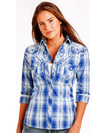 Panhandle Slim Women's Blue Erie Ombre Plaid Long Sleeve Shirt , , hi-res