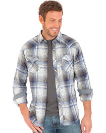 Wrangler Retro Men's Herringbone Print Over Plaid Long Sleeve Snap Shirt, , hi-res