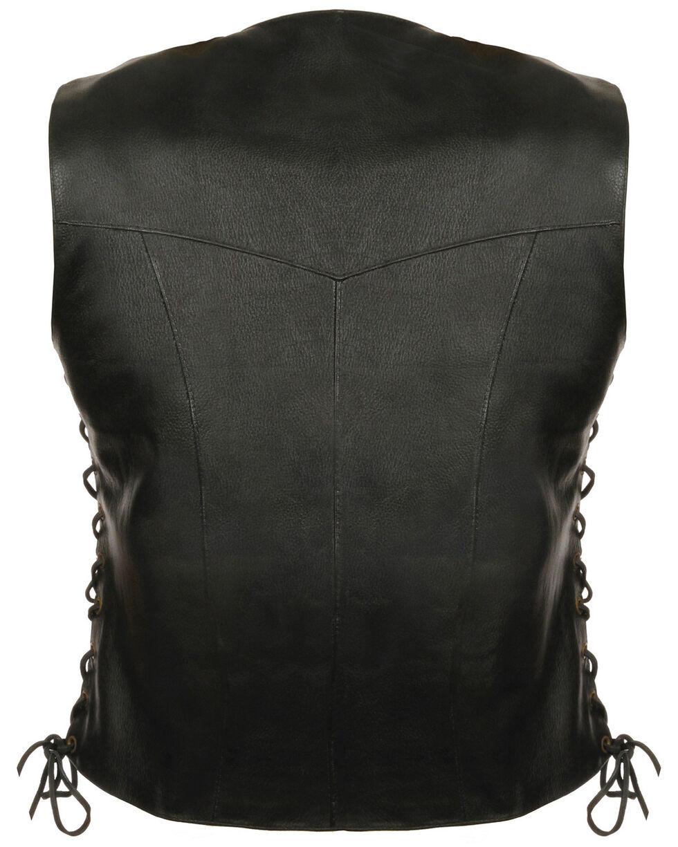 Milwaukee Leather Women's Classic Side Lace Four Snap Vest - 3XL, Black, hi-res