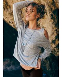 Sadie & Sage Women's Grey Cold Shoulder Marina Shirt , , hi-res