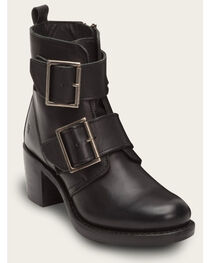Frye Women's Sabrina Double Buckle Black Leather Boots, , hi-res