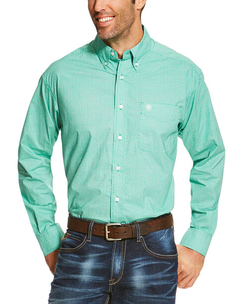 Ariat Men's Green Otto Print Long Sleeve Shirt - Big and Tall , Green, hi-res