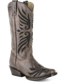 Roper Women's Lace Underlay Western Boots - Square Toe , , hi-res