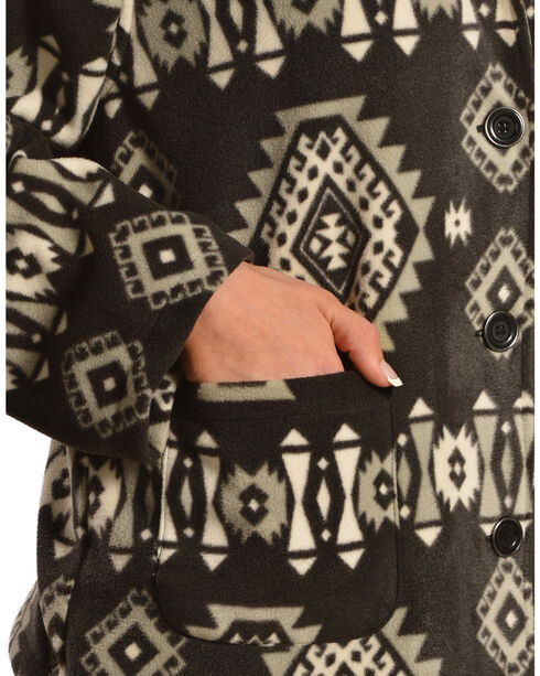 Jane Ashley Aztec Print Button-Up Fleece Jacket, , hi-res