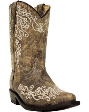Corral Girls' Embroidered Western Boots, Brown, hi-res