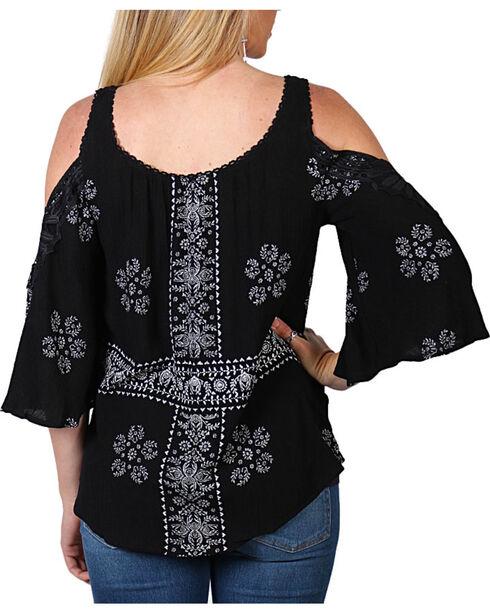 Luna Chix Women's Crochet Pattern Cold Shoulder Top, Black, hi-res