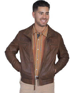 Scully Men's Lambskin Zip Front Jacket, Brown, hi-res
